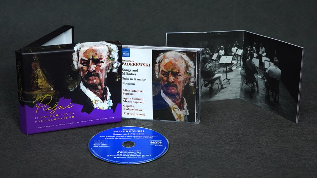 Zdjęcia płyty: Pieśni I.J. Paderewskigo. Starszy pan z wąsami i siwymi włosami.